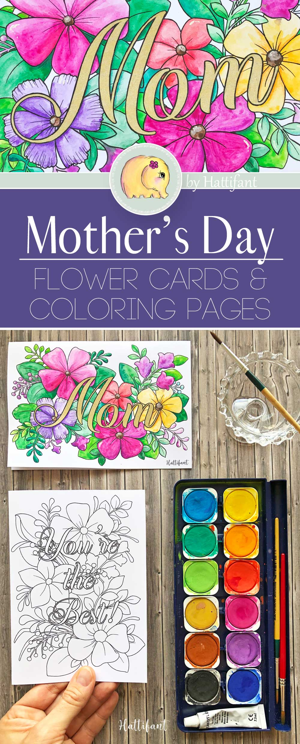 Hattifant's Mother's Day Flower Cards and Coloring Pages Pin