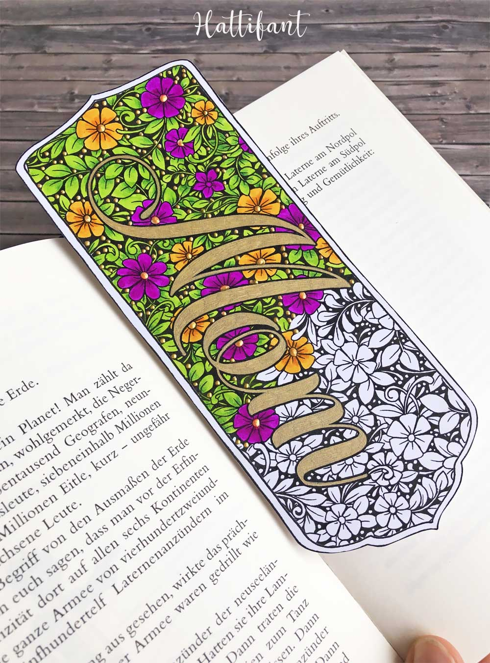 Hattifant's Mother's Day Flower Doodle Card, Bookmarks and Coloring Page Colored 1