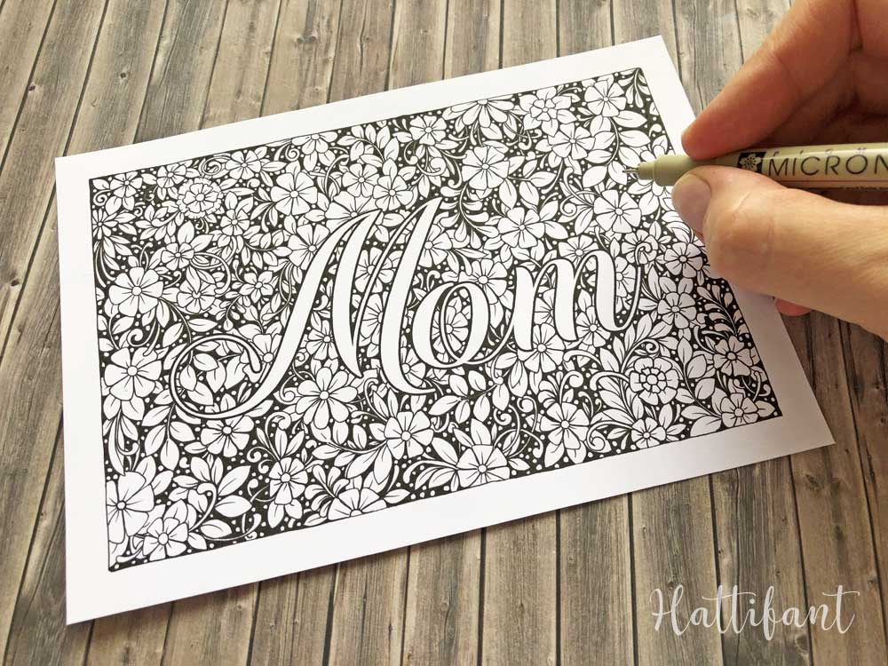 Hattifant's Mother's Day Flower Doodle Card, Bookmarks and Coloring Page WIP