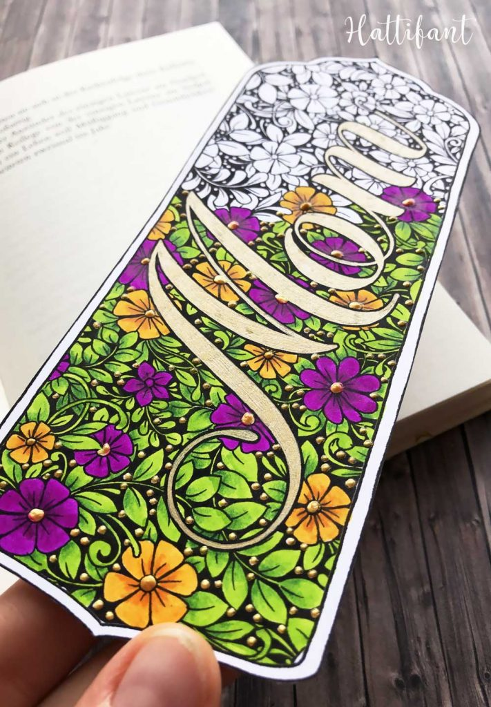 Hattifant's Mother's Day Flower Doodle Card, Bookmarks and Coloring Page Colored Sample