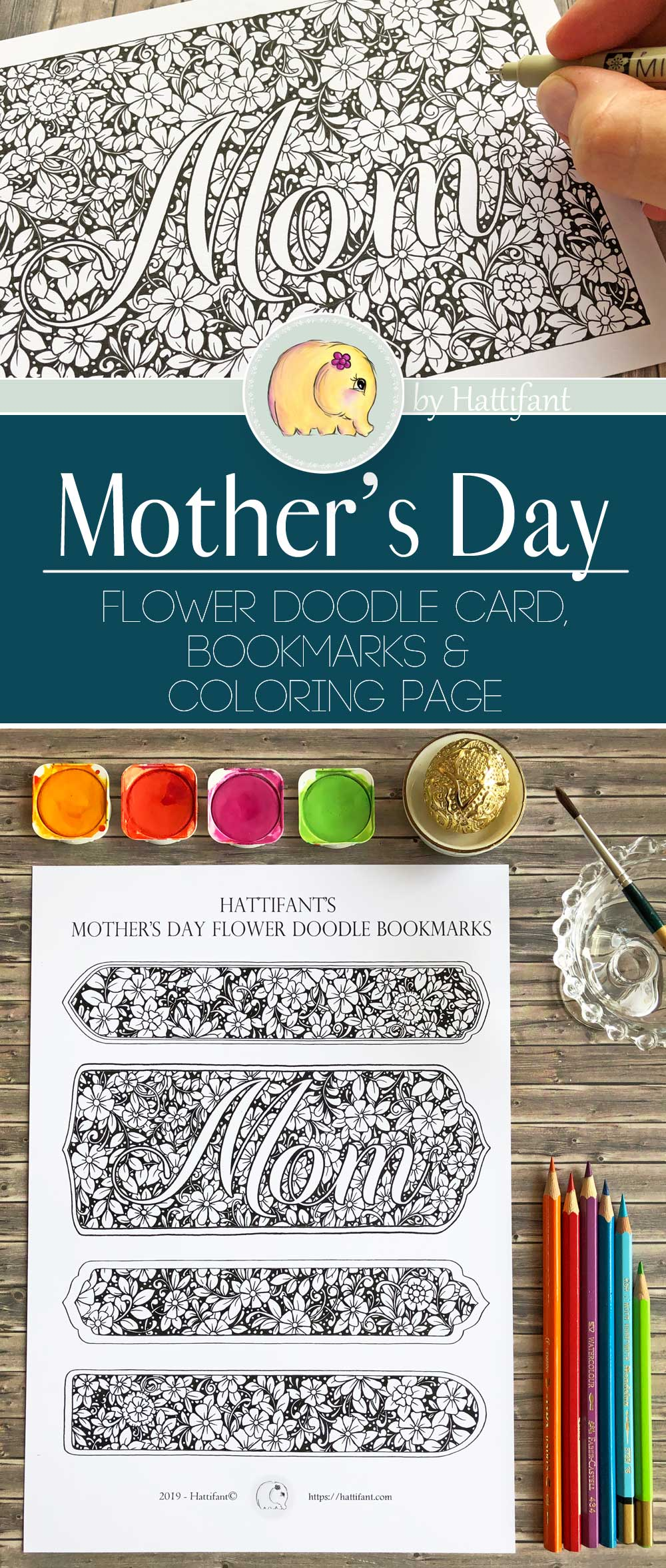 Hattifant's Mother's Day Flower Doodle Card, Bookmarks and Coloring Page