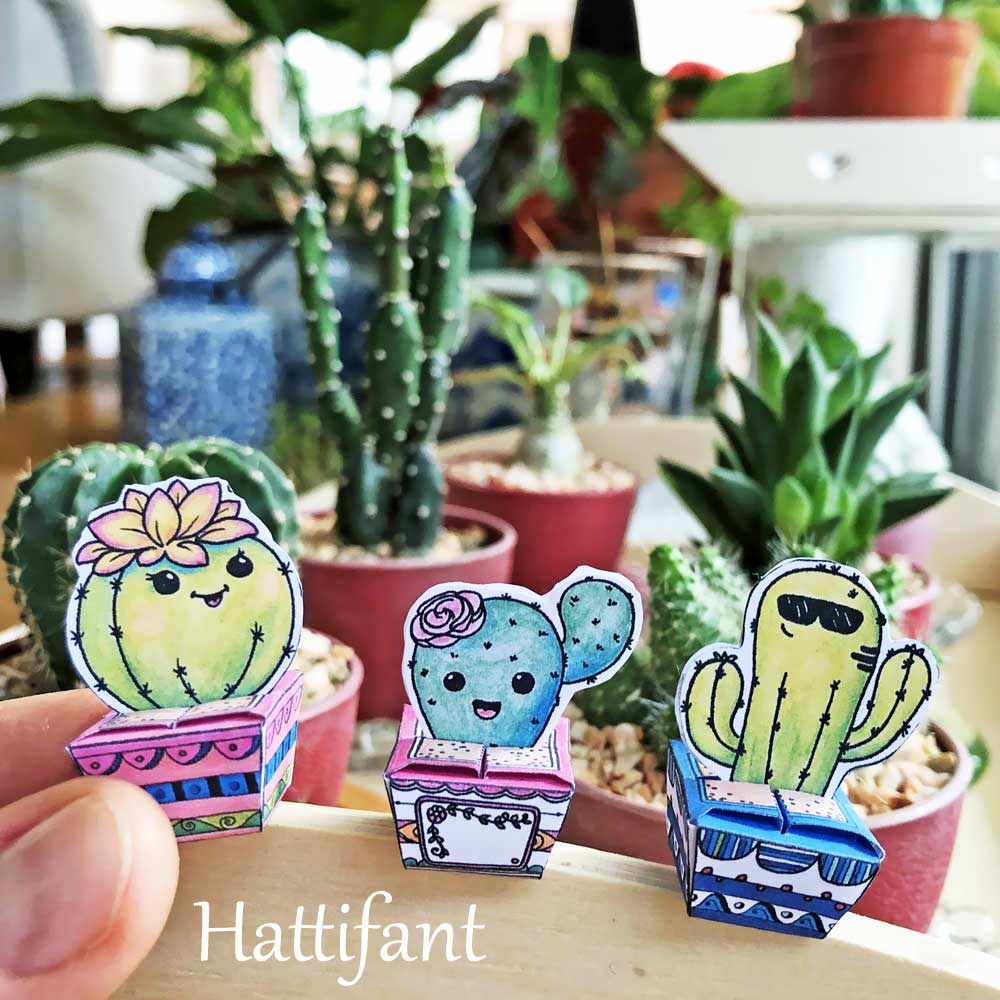 Hattifant's Paper Craft Succulents Cactus Cuties little gift boxes to color, craft and gift