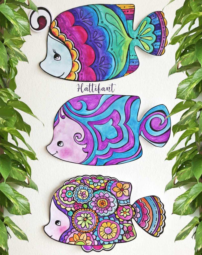 Decoration Fish Coloring Pages Hattifant