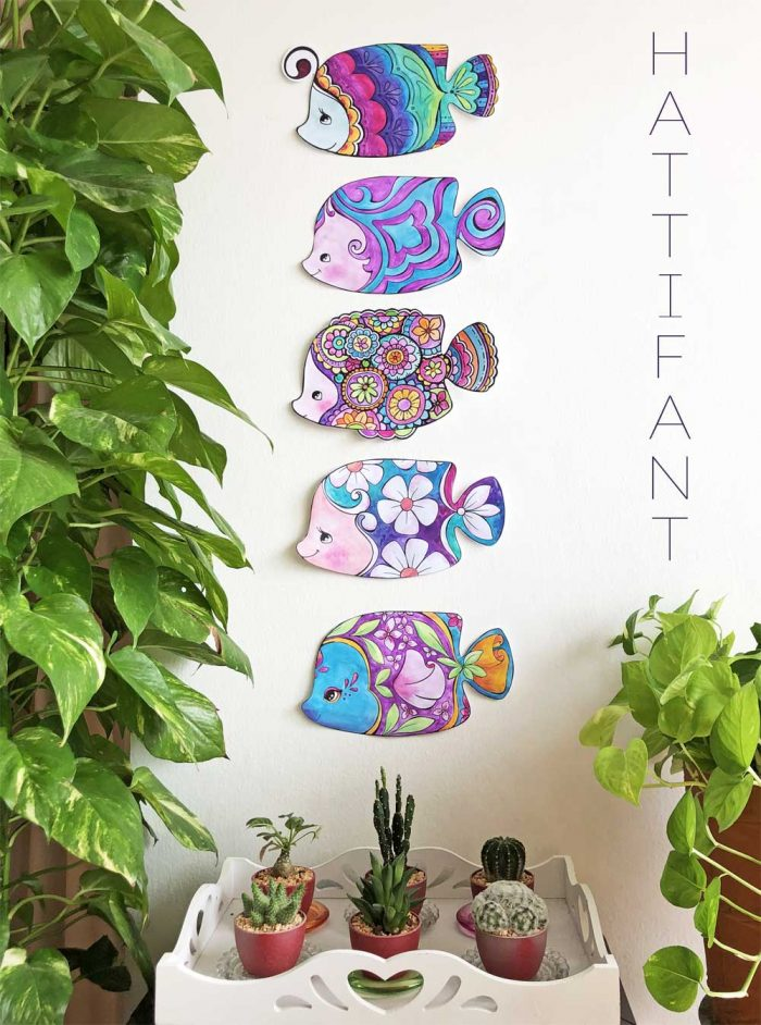 Hattifant's Decoration Fish as Coloring Page, Sun Catcher, Mobiel and Garland Pin