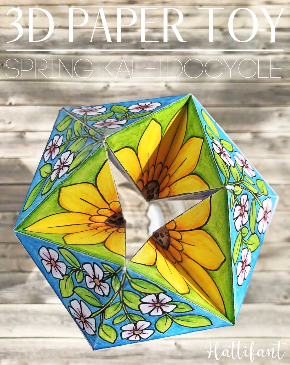 Hattifant's Spring Kaleidocycle Paper Toy Paper Craft to Color, Craft and Play Sample