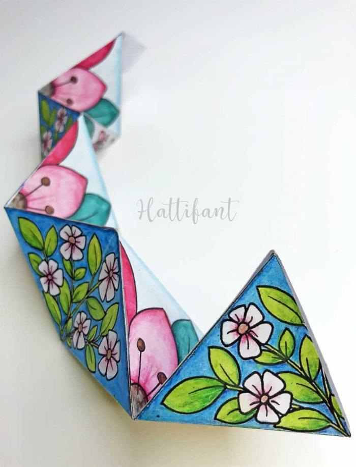Hattifant Paper Craft Toy Kaleidocycle Flextangle Spring