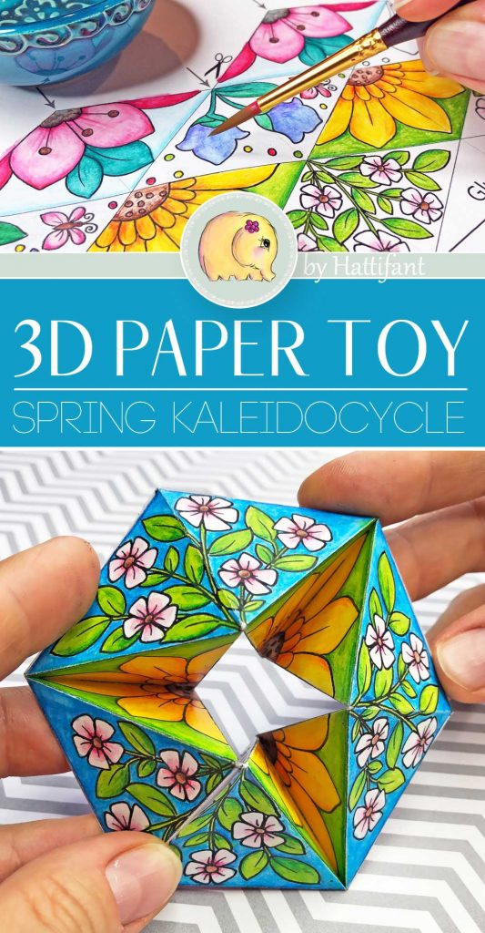 Hattifant's Spring Kaleidocycle Paper Toy Paper Craft to Color, Craft and Play Pin 1