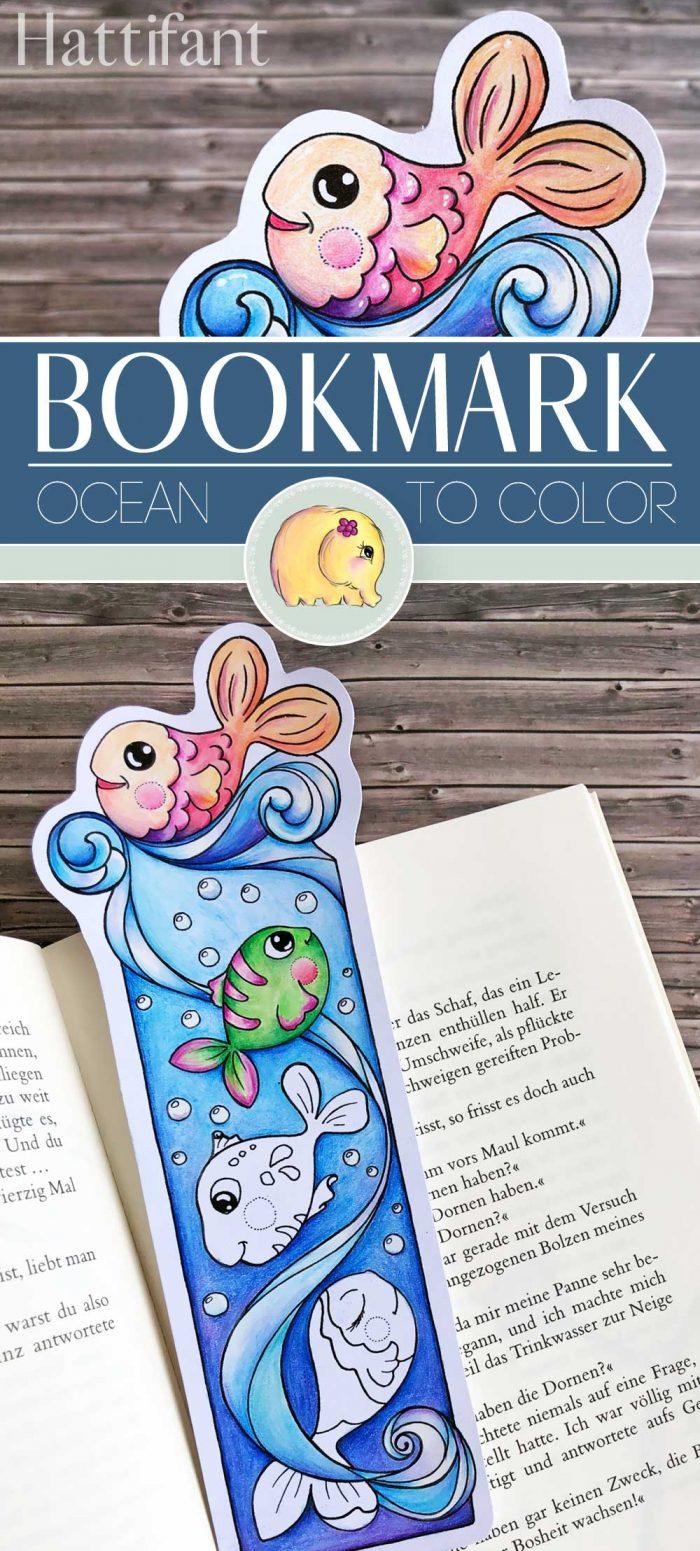 Hattifant's Bookmark Ocean to Color