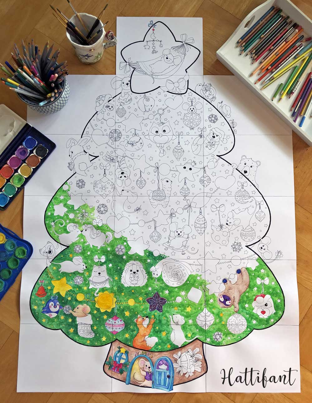 Hattifant's Giant Poster Christmas Tree Animal Cuties to Color full image