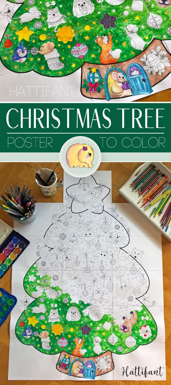 Hattifant's Giant Poster Christmas Tree Animal Cuties to Color Pin