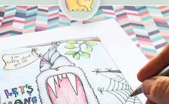 Hattifant's Big Mouth Surprise Cards to Color with bat, pumpkin, cat, ghost and candy