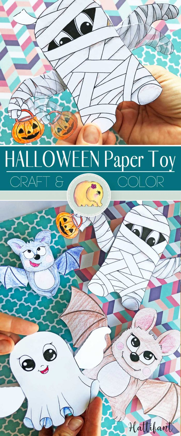 Hattifant's Halloween 3D Moving Paper Toy with bat, ghost and mummy to color and craft Pin