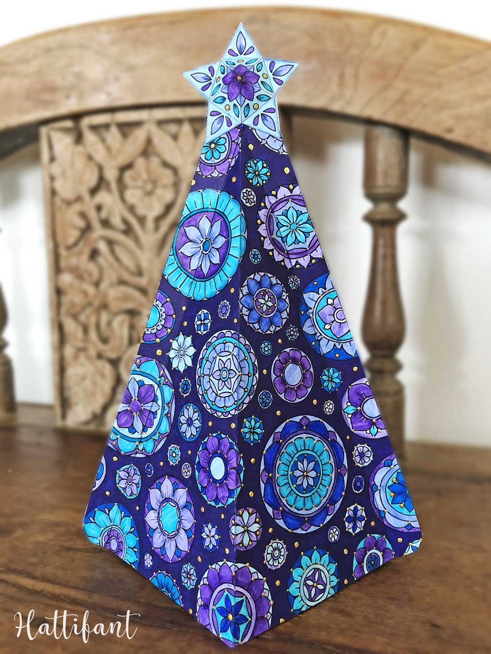 Hattifant's 3D Mandala Christmas Tree Ensemble to Color