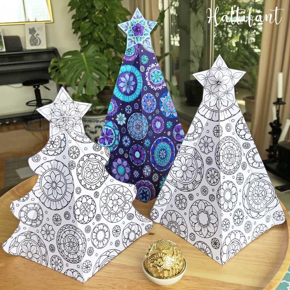 18D Mandala Christmas Tree Ensemble to Color   Hattifant