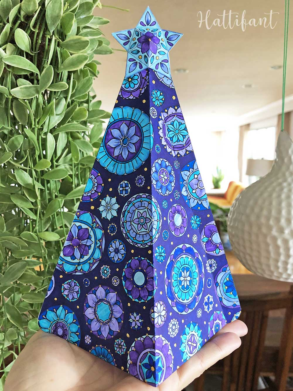 Hattifant 18d mandala christmas tree to color big tree   Hattifant