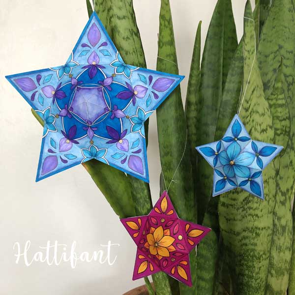 Hattifant's Christmas 3D Star Ornaments to color and craft 4