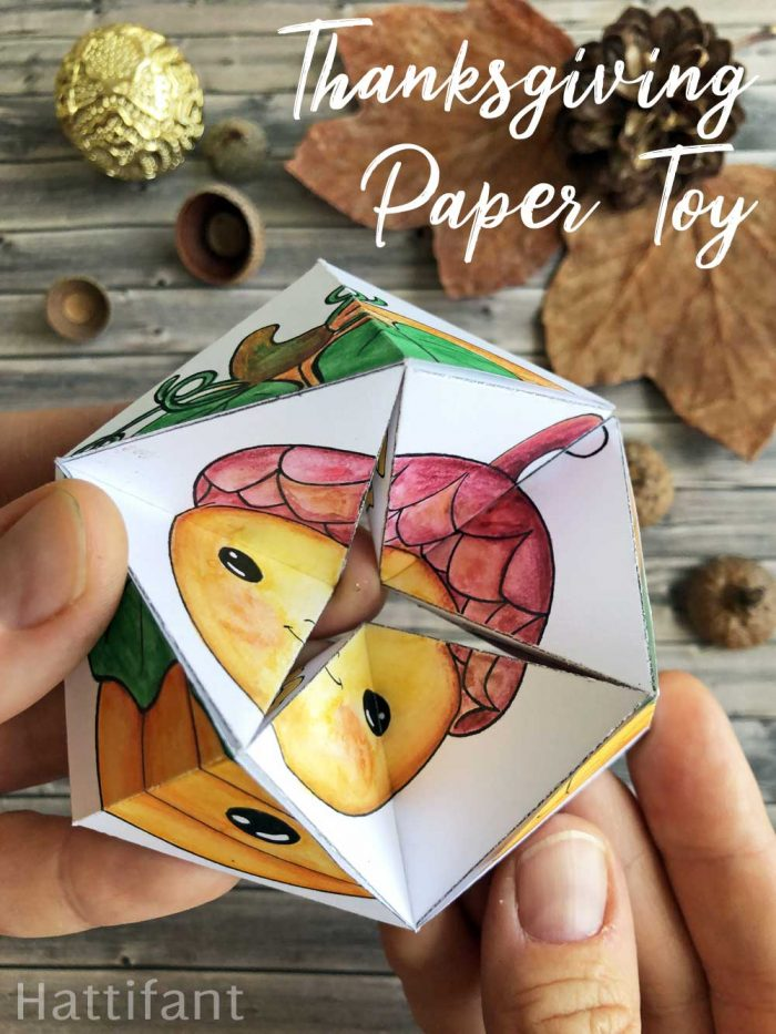 Hattifant's Thanksgiving Kaleidocycle a paper toy craft to color and play