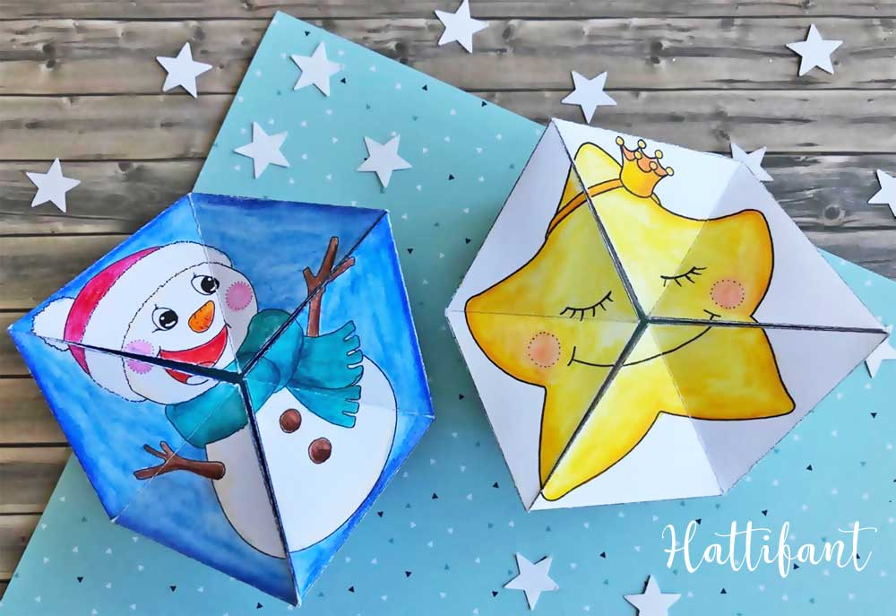 Hattifant's Kaleidocycles Emotional Winter and Christmas SEL Resource for kids to color and craft snowman and star