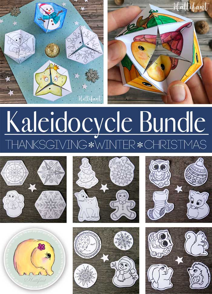 Hattifant's Kaleidocycles Emotional Winter and Christmas SEL Resource for kids to color and craft bundle