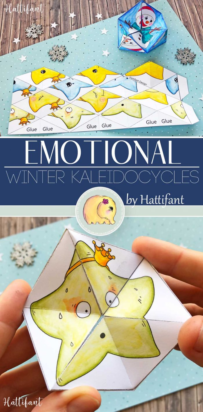 Hattifant's Kaleidocycles Emotional Winter and Christmas SEL Resource for kids to color and craft