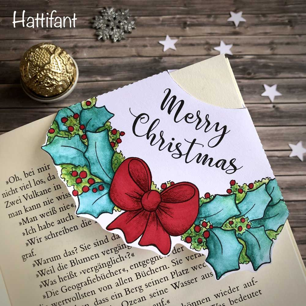 Hattifant's Christmas Wreath Corner Bookmark to color and craft in many languages