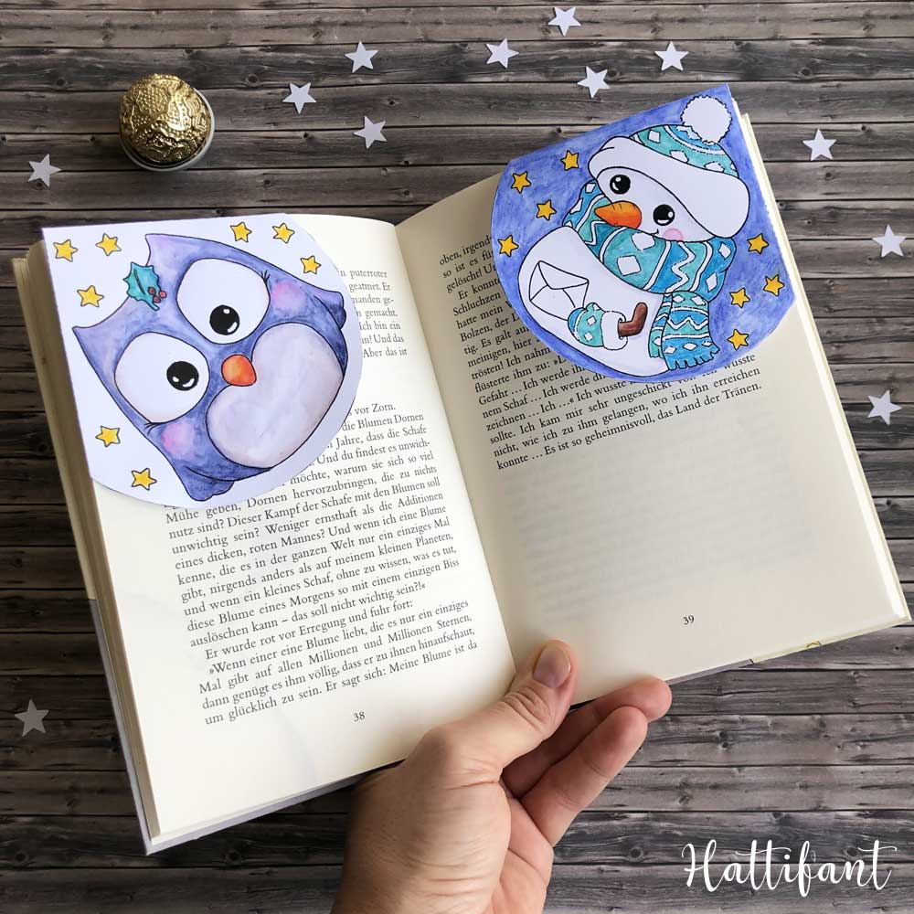 Hattifant's Christmas and Winter Corner Bookmarks to color and craft pin