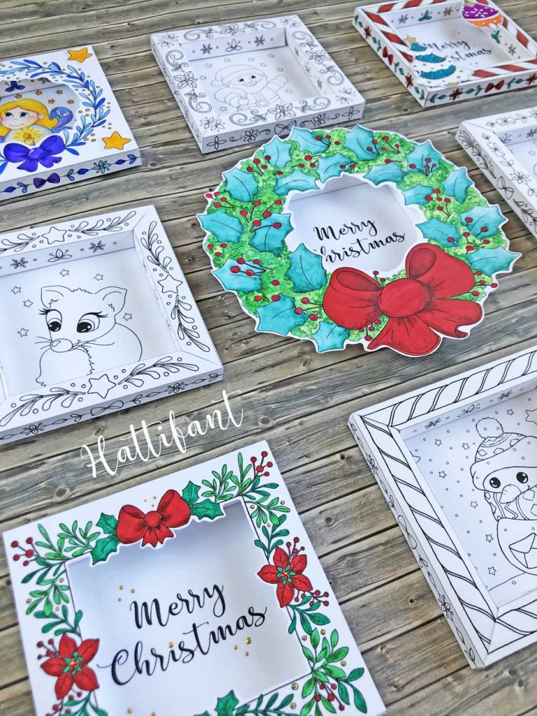 Hattifant's 3D Shadow Frames Christmas Cards to Color and Craft pin