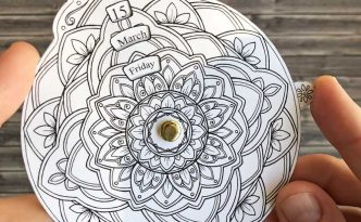 Hattifant's Perpetual Mandala Calendar to Color Timeless calendar that never expires sample small