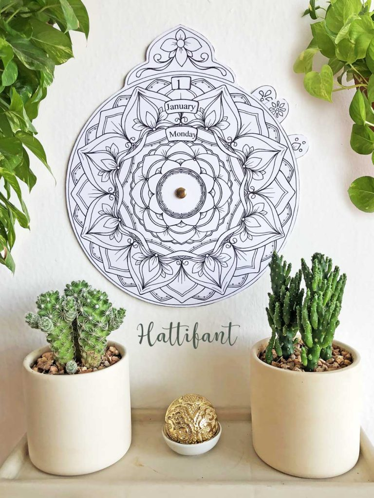 Hattifant's Perpetual Mandala Calendar to Color Timeless calendar that never expires Pin