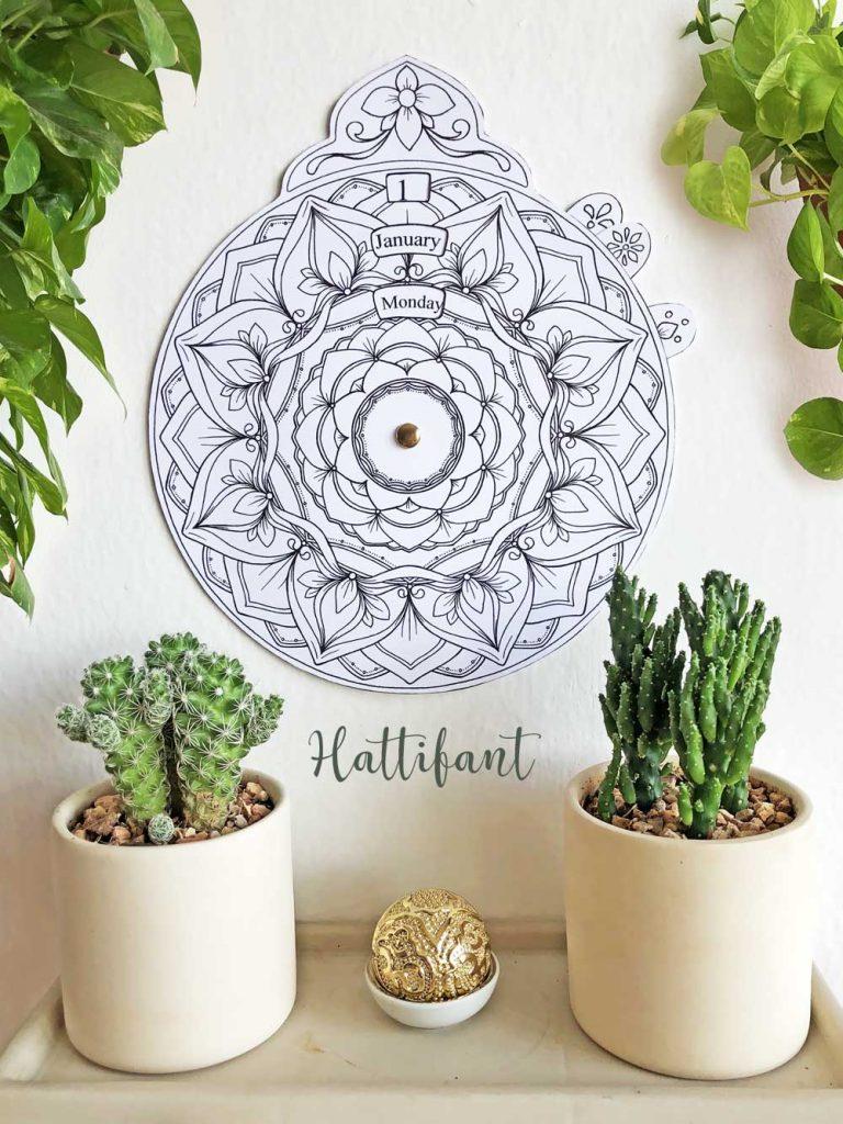 Hattifant's Perpetual Mandala Calendar to Color Timeless calendar that never expires Pin