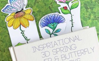 Hattifant's Inspirational 3D Spring Flower and Butterfly Bookmarks to color and craft