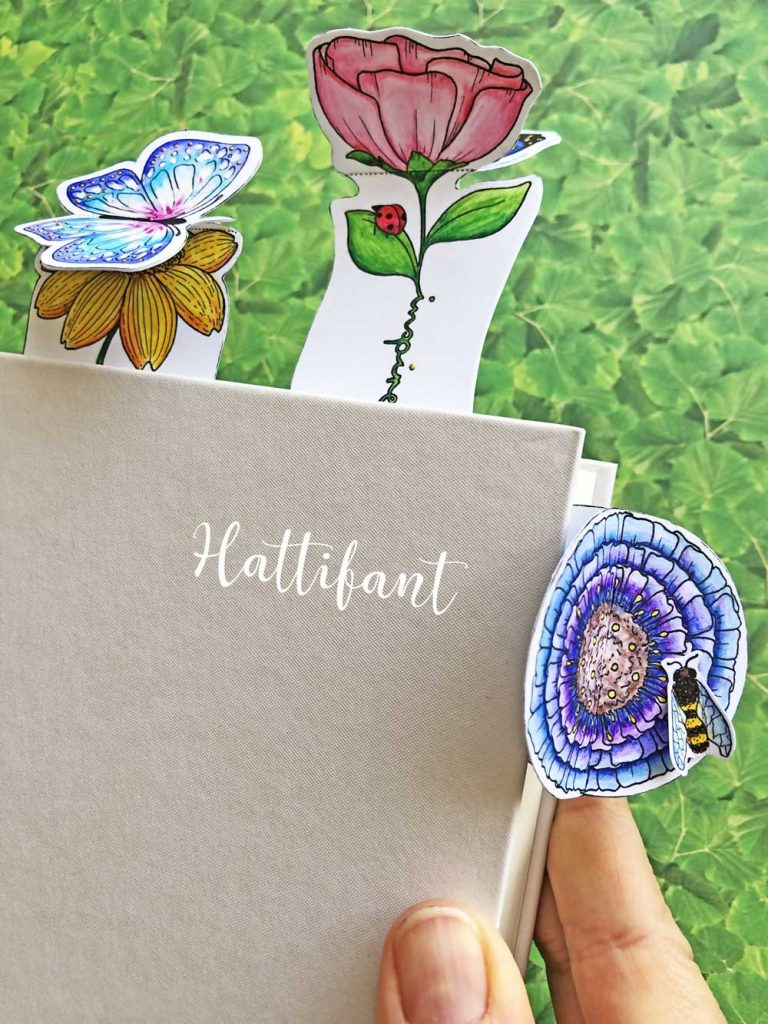 Hattifant's Inspirational 3D Spring Flower and Butterfly Bookmarks to color and craft pin1
