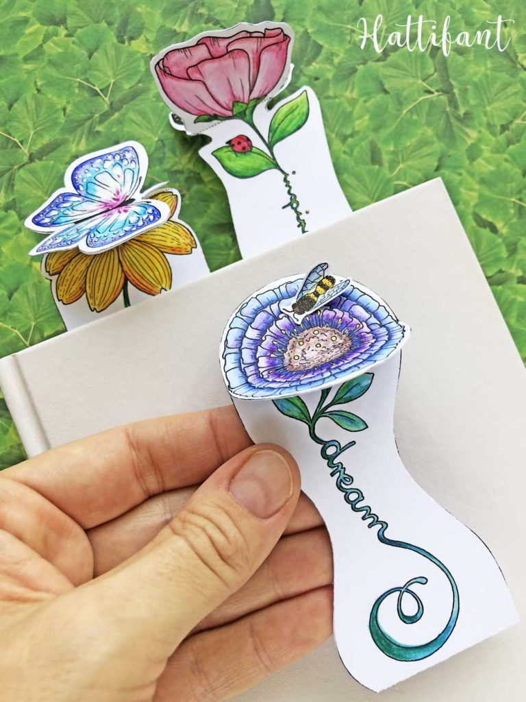 Hattifant's Inspirational 3D Spring Flower and Butterfly Bookmarks to color and craft pin2