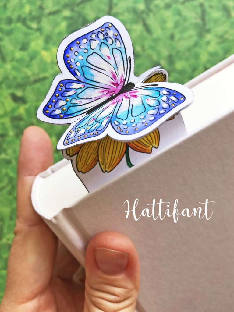 Hattifant's Inspirational 3D Spring Flower and Butterfly Bookmarks to color and craft pin3