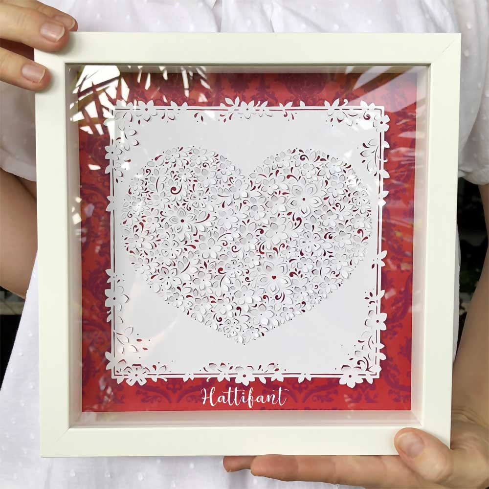 Hattifant's 3D Flower Heart Paper Cut Papercraft Valentines Day