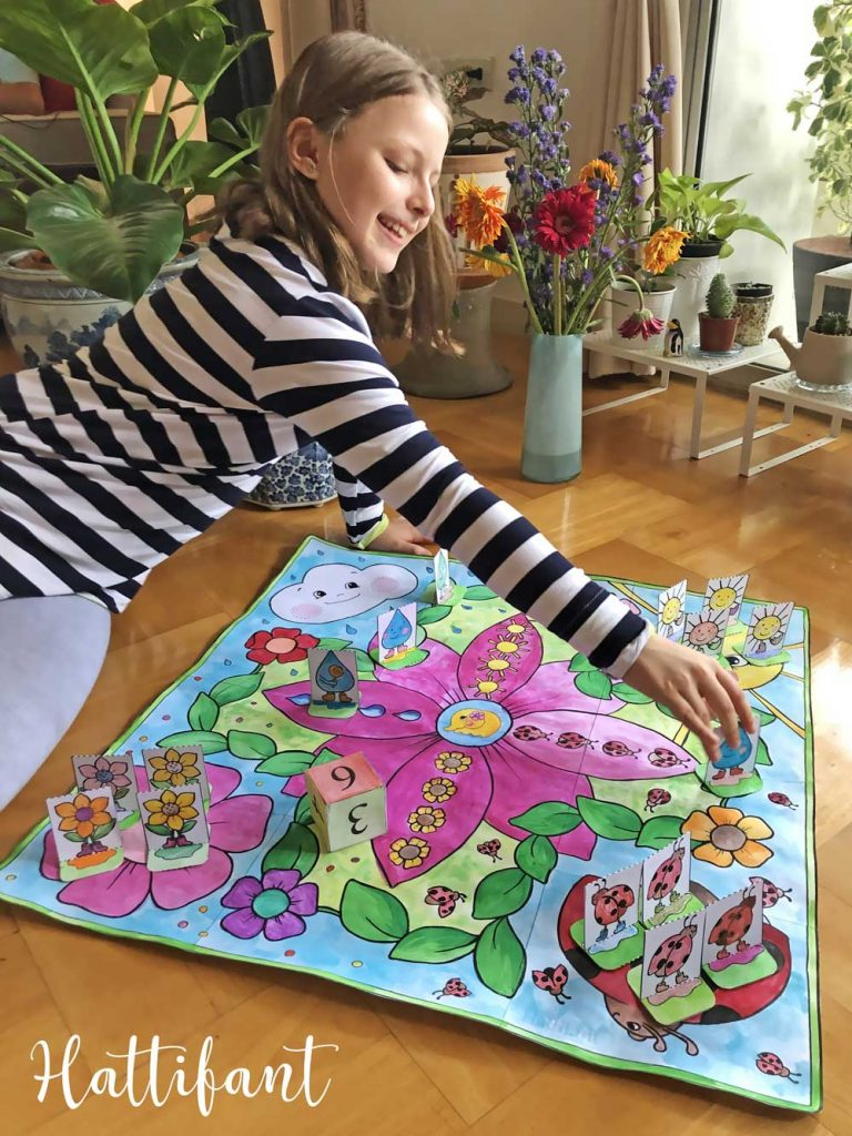 Hattifant's Giant Spring Board Game to Color and Playing