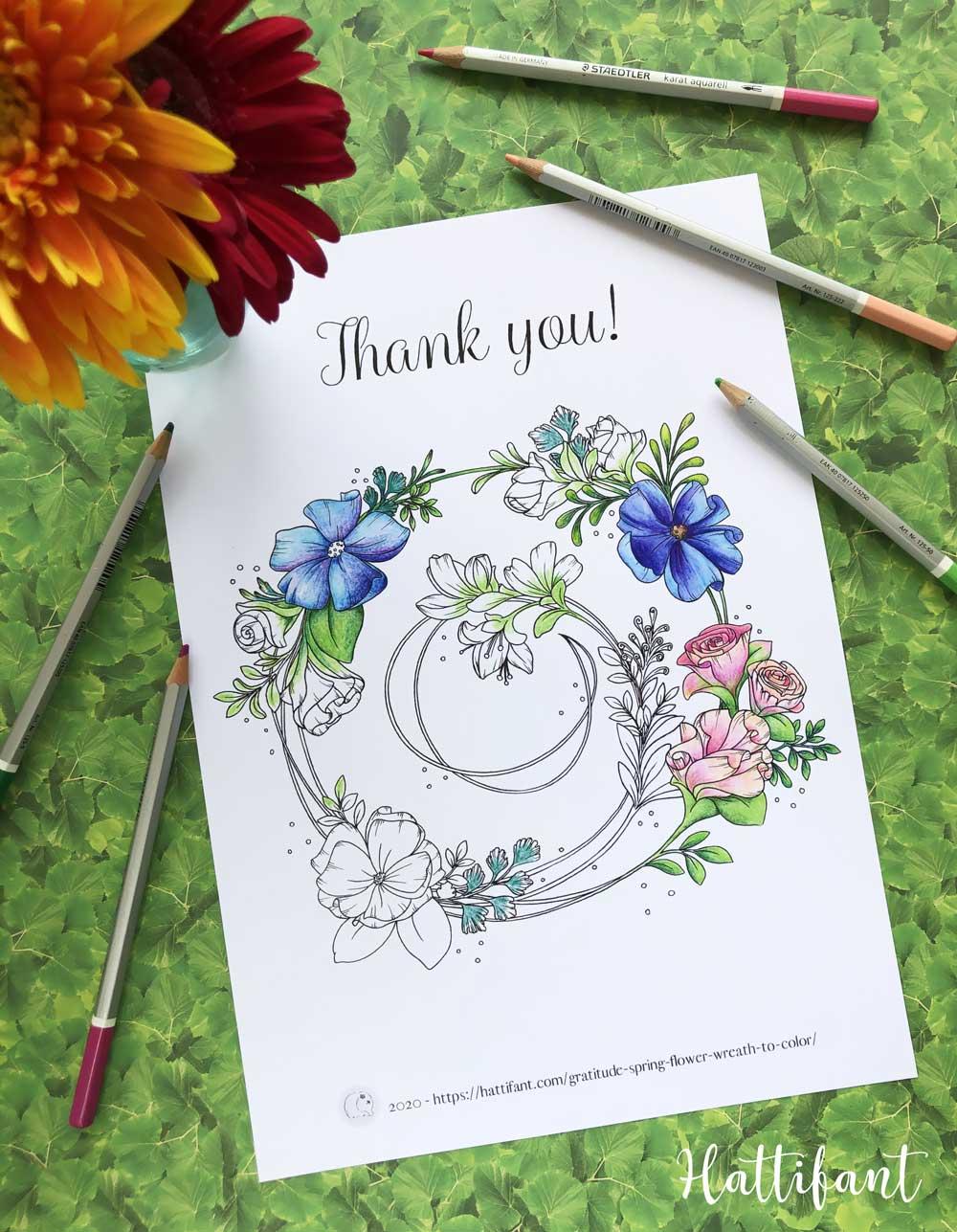 Gratitude Spring Flower Wreath Coloring Page Hattifant