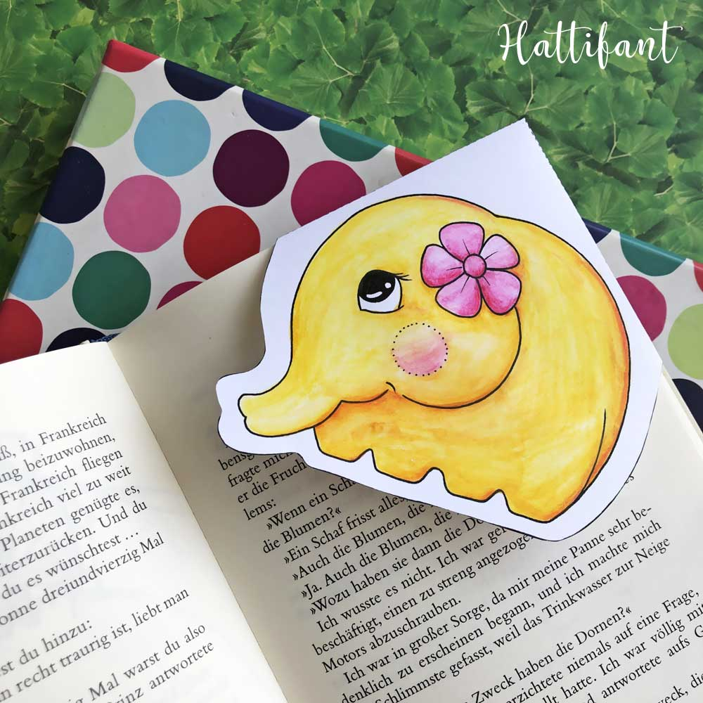 Hattifant, the elephant Corner Bookmarks to Color