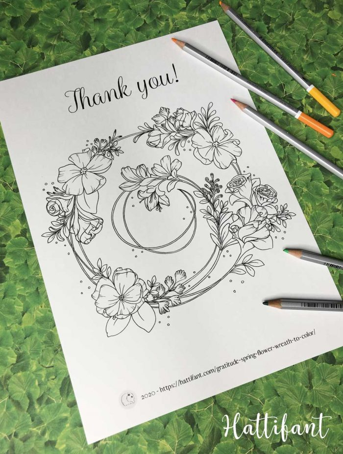 Hattifant's Gratitude Spring Flower Wreath Coloring Page example