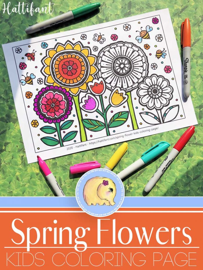 Hattifant's Spring Flowers Kids Coloring Page main