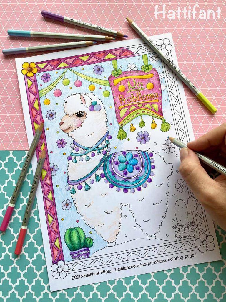 Hattifant No Probllama Coloring Page Llama a hand coloring in