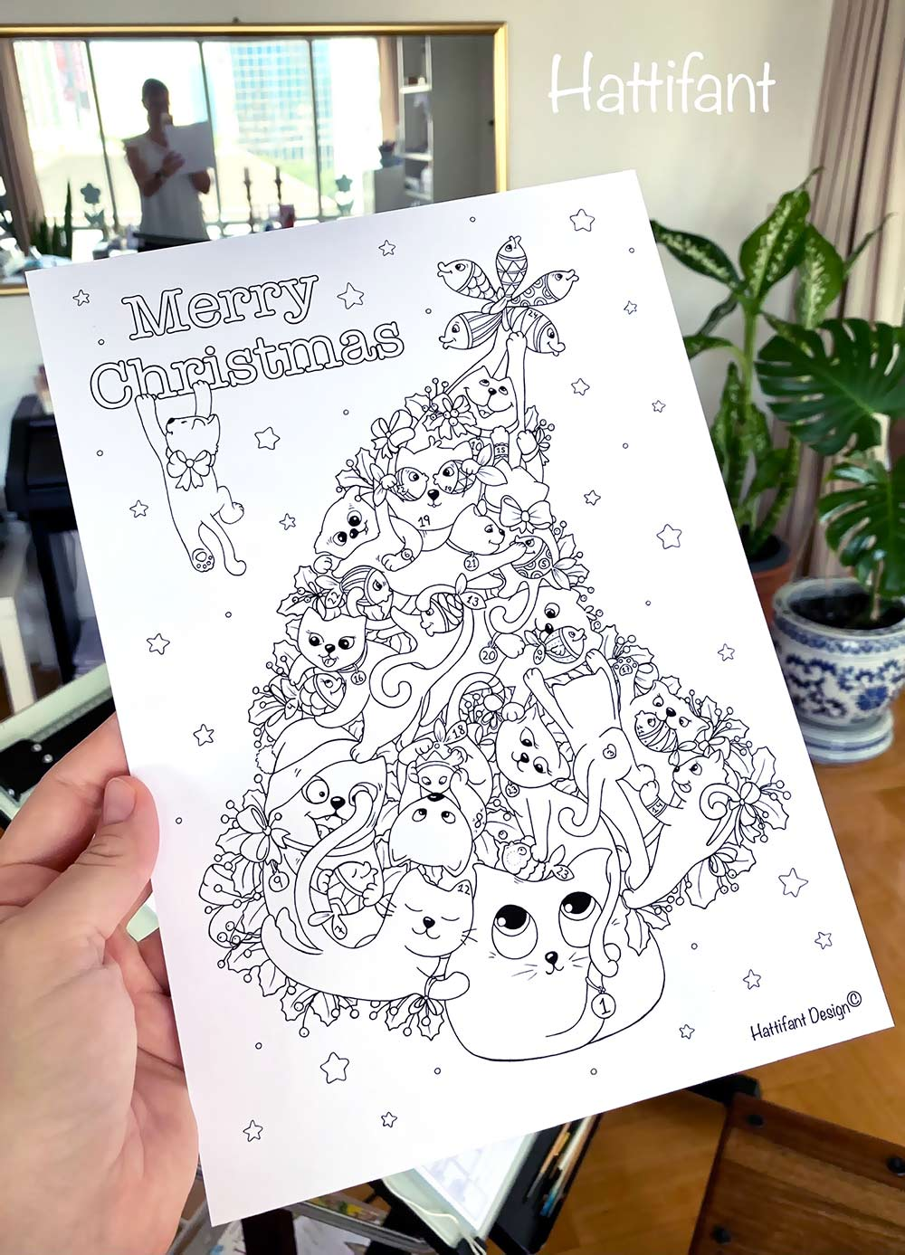 Hattifant's Kitty Cat Christmas Tree Advent Calendar to color in