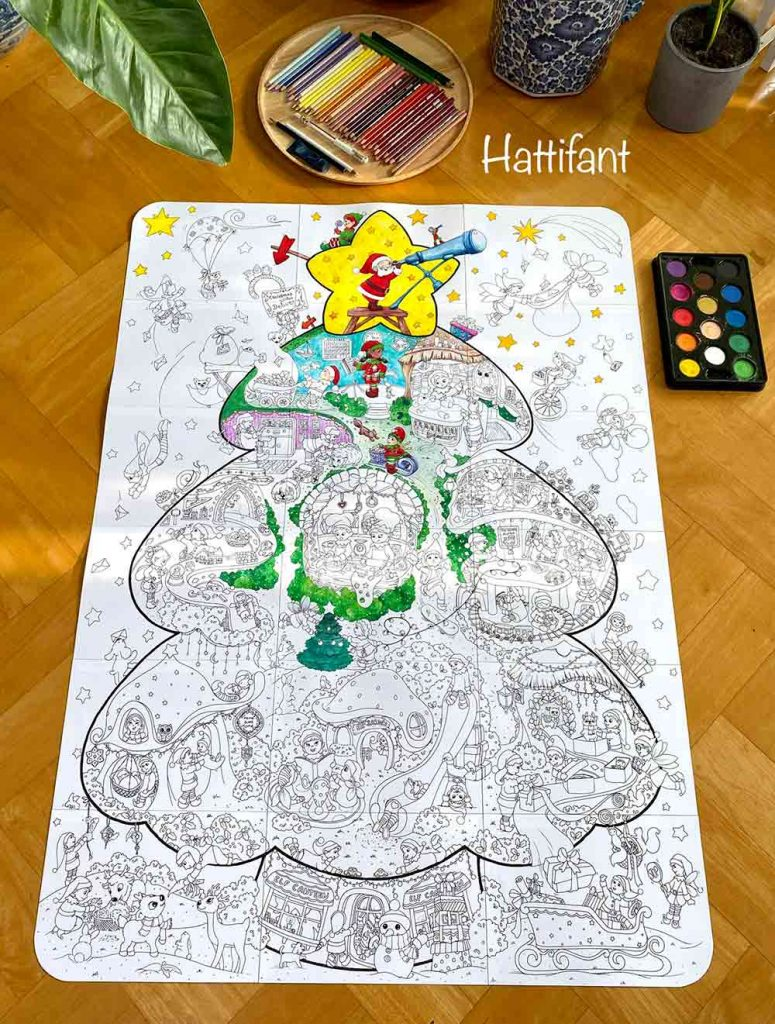 Hattifant's Giant Christmas Tree Poster an Elf Factory to color pin 3