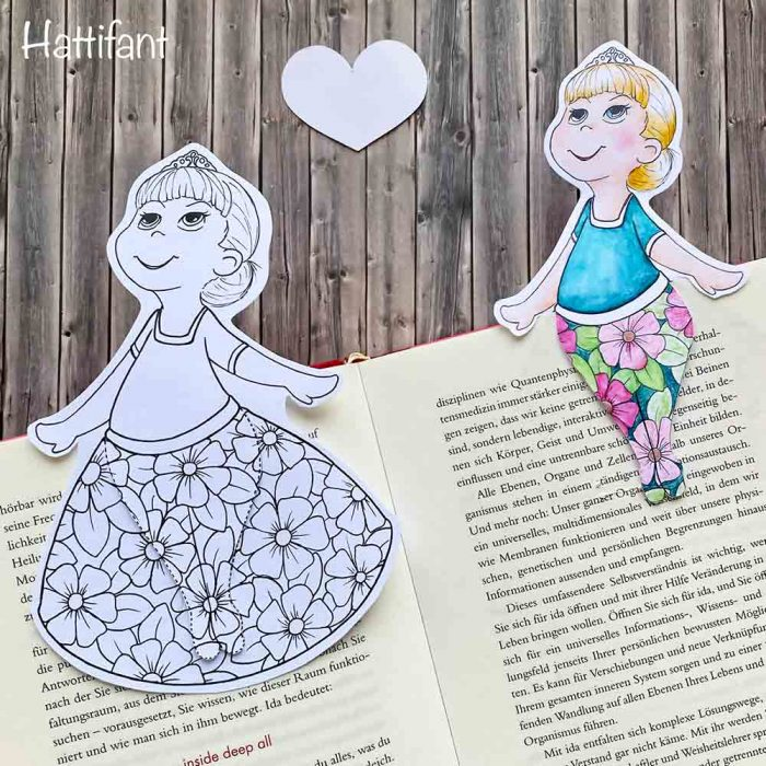 Hattifant's Spring Bookmark Princess in Tights to Color