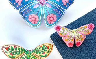 Hattifant's 3D Butterflies with Scandinavian Folk Art Feel 3 sizes