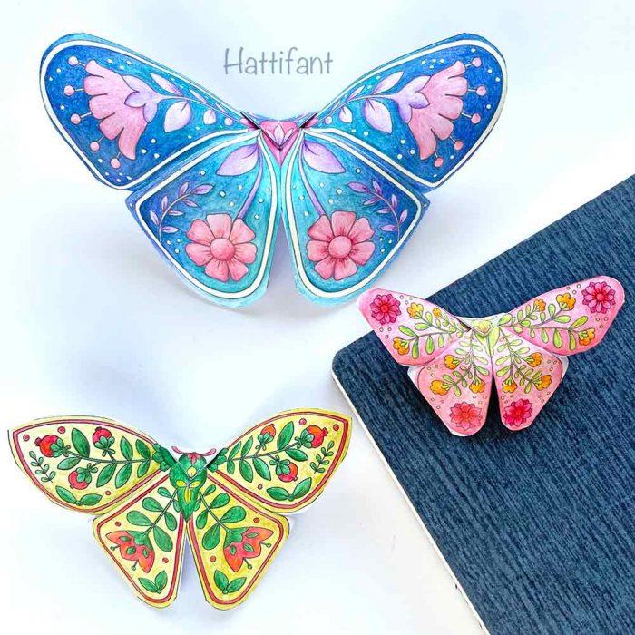 Hattifant's 3D Butterflies with Scandinavian Folk Art Feel 3 sizes