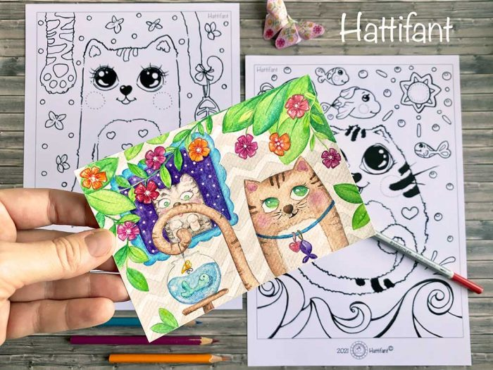 Hattifant's Cute Cats Coloring Adventure Pin 1