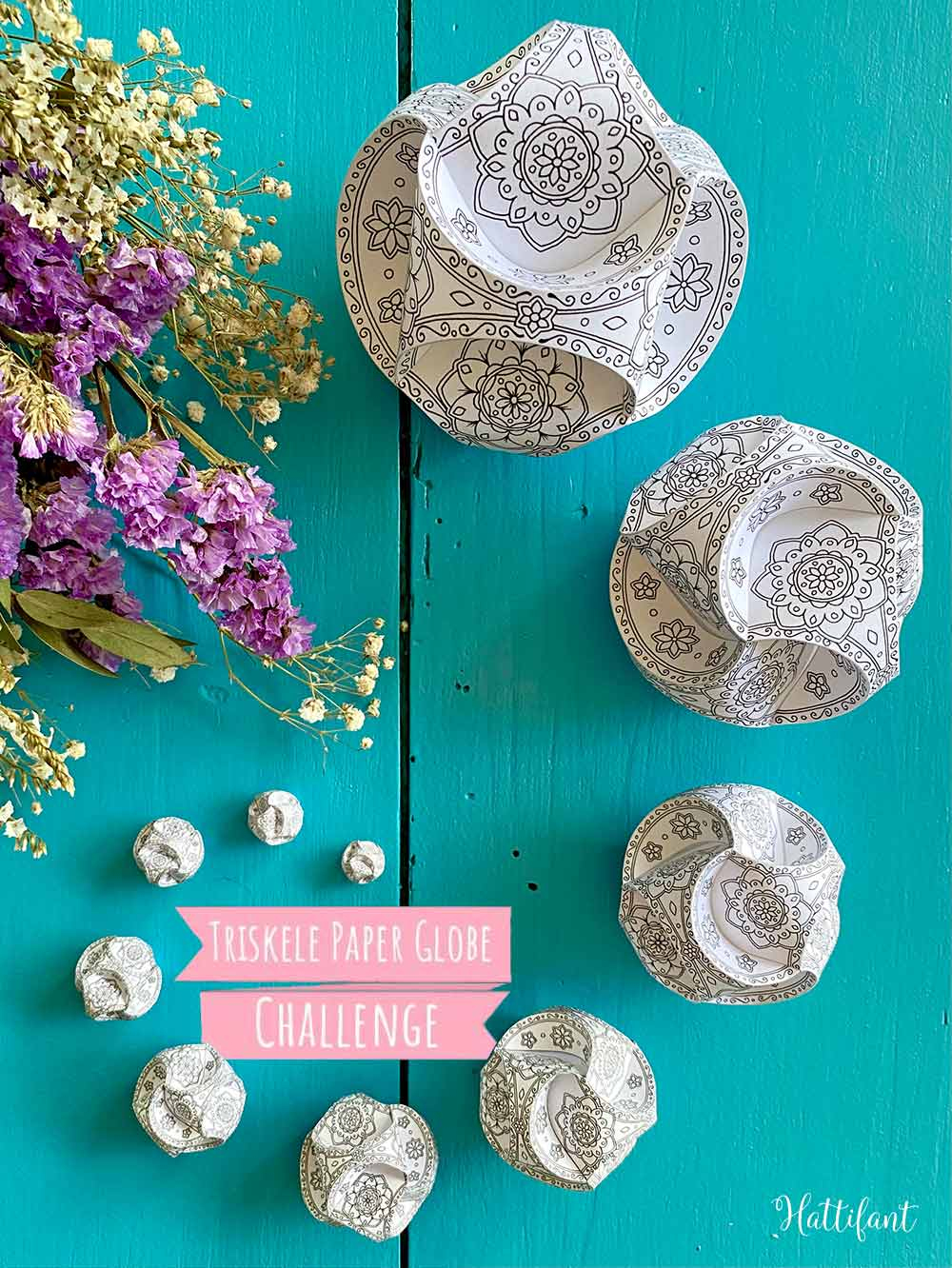 Hattifant's Triskele Paper Globe Challenge with 10 different sizes to tesst your craft skills.