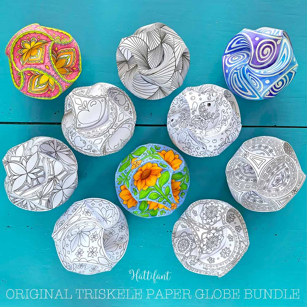 The Triskele Paper Globe Challenge is included in the Original Triskele Paper Globe Bundle.