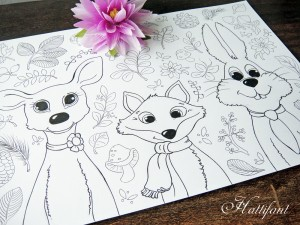 Hattifants Woodland Cuties to Color